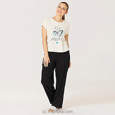 Cotton Tee With Pant White Pj MN164 By Miika at Kapruka Online for specialGifts
