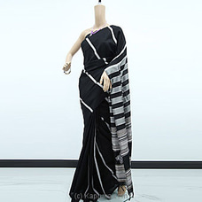 Silver Stripe Black Rayon Pallu Saree-RP0105 By cotton Weavers at Kapruka Online for specialGifts