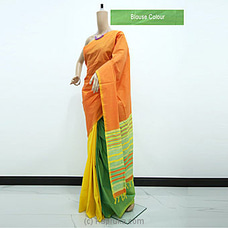 Orange And Green Mixed Cotton Saree-G0508 By cotton Weavers at Kapruka Online for specialGifts
