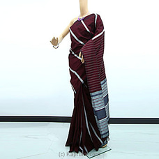 Maroon And Silver Stripe Rayon Pallu Saree-RP0101 By cotton Weavers at Kapruka Online for specialGifts