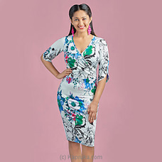 Blue And White Printed Stretch dress -LD080010a By LADY HOLTON at Kapruka Online for specialGifts