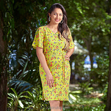 Yellow Mixed  Printed Dress-LD080007Y By LADY HOLTON at Kapruka Online for specialGifts