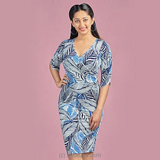 Dark Blue Mixed Printed stretch dress -LD080010b By LADY HOLTON at Kapruka Online for specialGifts