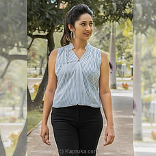 White Stripes Sleeveles Cotton Top -LT100006W at Kapruka Online