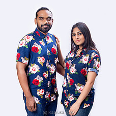 Roses printed navy blue shirt-S001-Unisex By SHEYDE at Kapruka Online for specialGifts