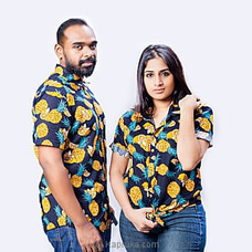 Pineapple And Lemon Printed Navy Blue Shirt-s002 - Unisex at Kapruka Online
