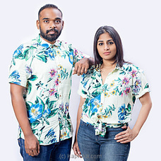 Colourful floral printed white shirt-S003-Unisex By SHEYDE at Kapruka Online for specialGifts