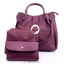 Women`s 3 Piece Maroon Handbag Set By NA at Kapruka Online for specialGifts