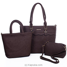 Women`s 3 Piece Brown Handbag Set By NA at Kapruka Online for specialGifts