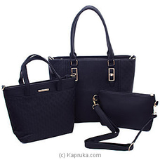 Women`s 3 Piece Black Handbag Set By NA at Kapruka Online for specialGifts