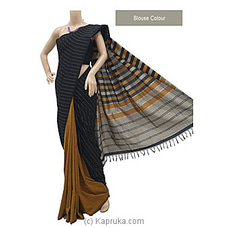 Black  Cotton Handloom Saree-C1239 By Cotton Weavers at Kapruka Online for specialGifts