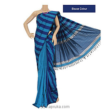 Dark Blue Stripes  Cotton Handloom Saree -C1261 By Cotton Weavers at Kapruka Online for specialGifts
