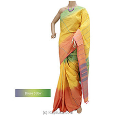 Multi Colour Glossy Cotton Handloom Saree-G0508 By Cotton Weavers at Kapruka Online for specialGifts