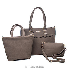 Women`s 3 Piece Grey Handbag Set at Kapruka Online