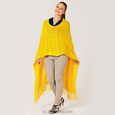 Vintage viscose poncho mswh19/0026a-mustard yellow at Kapruka Online