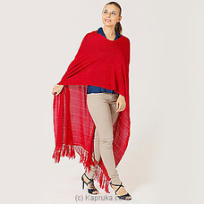 Vintage viscose poncho mswh19/0026a swiss red at Kapruka Online
