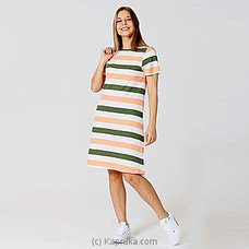 Knit Stripe Dress MD 196 - Lime Frappe & Lychee Float at Kapruka Online