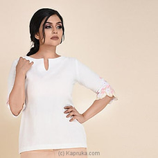 Linen Short Top With Embroidery Sleeves-3020860 at Kapruka Online