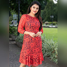 Lace With Lining Long Sleeve Dress Orange  -LD090005Orange By Lady Holton at Kapruka Online for specialGifts