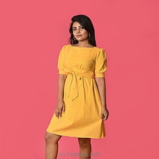 Yellow Linen Backless Short Dress-DF-F-0046 By Daffodils at Kapruka Online for specialGifts