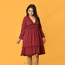 Maroon Bubble Gorget V neck Dress -DF-F-0048 By Daffodils at Kapruka Online for specialGifts