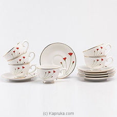 Dankotuwa Red Flower Tea Set- 12 Pieces at Kapruka Online