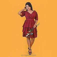 Maroon Cascading Ruffle Dress Sleeaves-DF-F-0053 By Daffodils at Kapruka Online for specialGifts