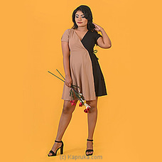 Black - Beige Wraparound Short Dress-DF-F-0055 By Daffodils at Kapruka Online for specialGifts