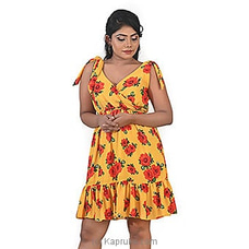 Red Roses on Yellow Dress-DF-F-0057 By Daffodils at Kapruka Online for specialGifts