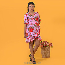 Red Roses on Pink Dress-DF-F-0056 By Daffodils at Kapruka Online for specialGifts