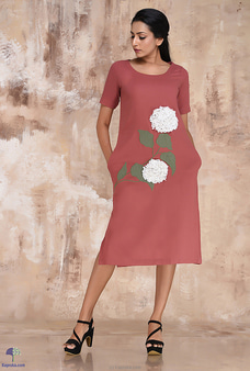 Linen Short Dress With 3D Embroidery Flowers By  Innovation Revamped at Kapruka Online for specialGifts