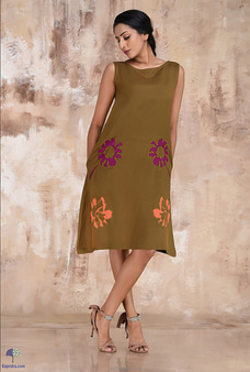 Linen Sleevless Dress With Embroidery Flowers By  Innovation Revamped at Kapruka Online for specialGifts