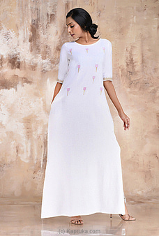 Linen Long Dress With Tulip Embroided Dress at Kapruka Online