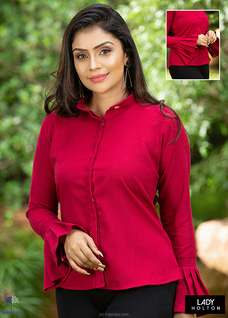Pleated Sleeve Blouse -dark Red at Kapruka Online