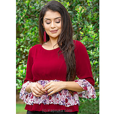 Lace Detailed Top Maroon Red LHPS1105 at Kapruka Online