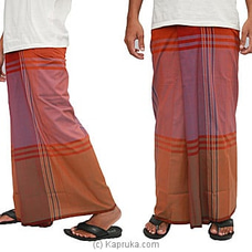 Pure Cotton Handloom Sarong orange red CS1135 By Cotton Weavers at Kapruka Online for specialGifts