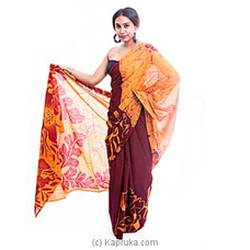 Meroon colour flower mixes batik saree By  Islandlux at Kapruka Online for specialGifts