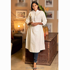 `ELEGANT EMBROIDERY` LINEN KURTI -0321WHI By VIGO at Kapruka Online for specialGifts