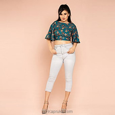 Printed Crop Top -teal Blue Print -CH 011 at Kapruka Online