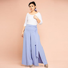 Poly viscose wide leg palazzo pants -Blue -CH 013 By CH Glamstore at Kapruka Online for specialGifts