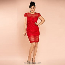 Elegant Lace Cocktail Dress -red -CH 020 at Kapruka Online