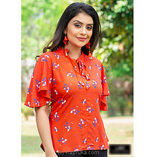 orange Cotton mix butterfly sleeve top -LT080019O at Kapruka Online