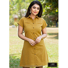 Gold Linen strips dress -LD100009Y By Lady Holton at Kapruka Online for specialGifts