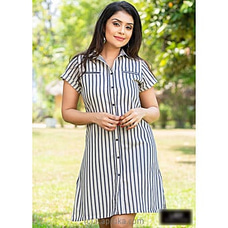Linen strips dress -LD100009W By Lady Holton at Kapruka Online for specialGifts