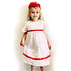 Tina White and red polka dot kids cotton dress By  Elfin Kidz at Kapruka Online for specialGifts
