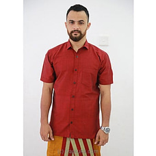 Cotton Weavers Men`s Handloom Shirt maroon red -HS0112 By Cotton Weavers at Kapruka Online for specialGifts