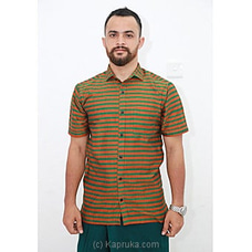 Cotton Weavers Men`s Handloom Shirt Green striped -HS0114 By Cotton Weavers at Kapruka Online for specialGifts