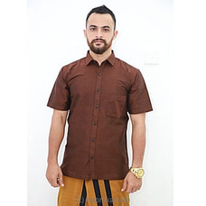 Cotton Weavers Men`s Handloom Shirt Brown -HS0116 By Cotton Weavers at Kapruka Online for specialGifts