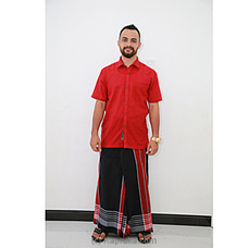 Cotton Weavers Men`s Handloom Sarong Red and Black -CS1114 By Cotton Weavers at Kapruka Online for specialGifts