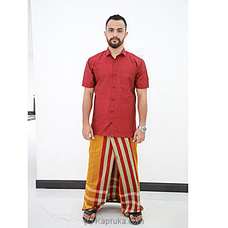 Cotton Weavers Men`s Handloom Sarong orange and red -CS1161 at Kapruka Online